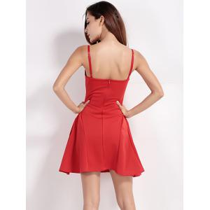 Back Zip Up Backless Low Cut Spaghetti Strap Dress -