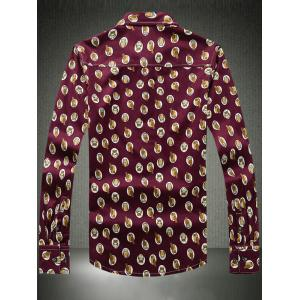 Owl Printed Plus Size Turn-Down Collar Long Sleeve Shirt - WINE RED 5XL