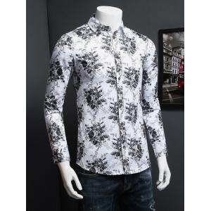 Tiny Floral Printed Plus Size Turn-Down Collar Long Sleeve Shirt -