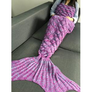 Crochet Knitting Fish Scales Design Mermaid Tail Style Blanket - LIGHT PURPLE M