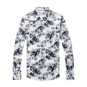 3D Flower Printed Plus Size Turn-Down Collar Long Sleeve Shirt - WHITE 4XL