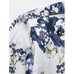 3D Flower Printed Plus Size Turn-Down Collar Long Sleeve Shirt - WHITE 5XL