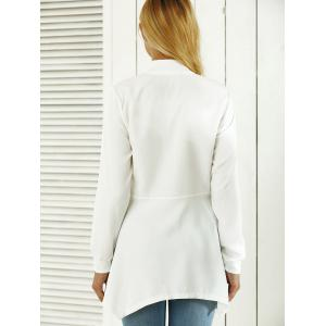 Asymmetric Zip Up Trench Coat - WHITE XL