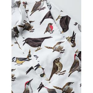Colorful Birds Printed Plus Size Turn-Down Collar Long Sleeve Shirt -