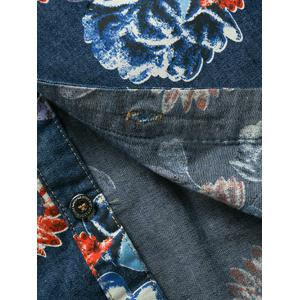 3D Flower Printed Plus Size Turn-Down Collar Long Sleeve Denim Shirt -