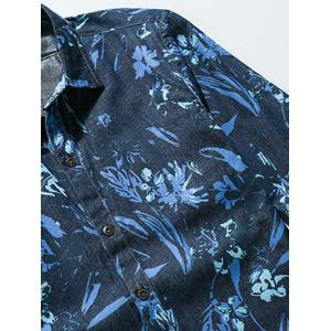 Flower Print Plus Size Long Sleeve Jean Shirt - BLUE 5XL