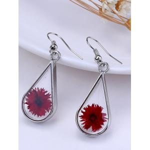 Water Drop Glass Dry Blossom Earrings -