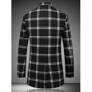 Checked Plus Size Turn-Down Collar Long Sleeve Single-Breasted Coat - WHITE AND BLACK 5XL