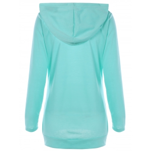 Geometric Print Drawstring Hoodie - TIFFANY BLUE XL