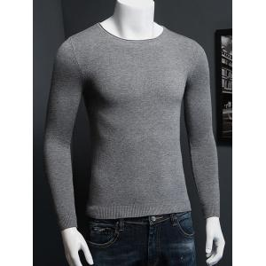Plus Size Round Neck Long Sleeve Knitted Sweater -