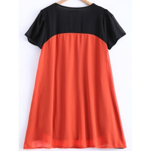 Pleated Color Patchwork Chiffon Dress - BLACK AND ORANGE 4XL