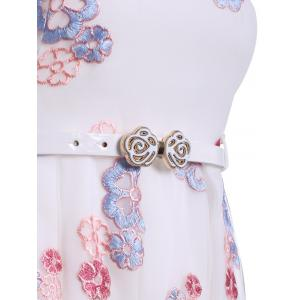 Embroidery A Line Belted Dress -