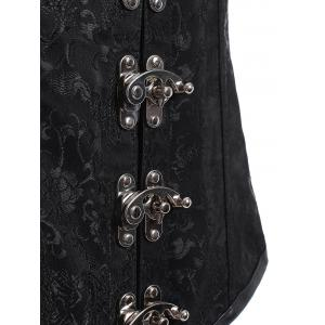 Jacquard Alloy Buckle Lace Up Corset With T-Back - BLACK XL