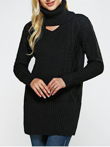 Sale High Neck Hollow Out Loose-Fitting Sweater