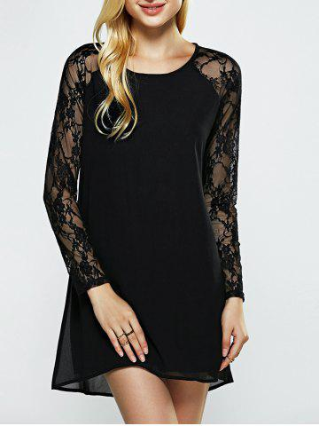 Affordable Mesh Splicing See-Through Black Dress