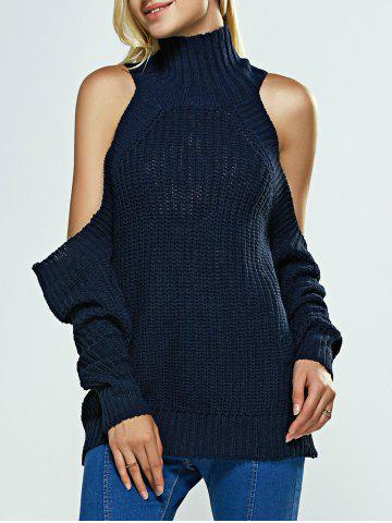 New Cold Shoulder Turtle Neck Pure Color Sweater DEEP BLUE ONE SIZE