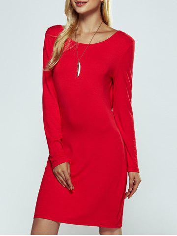 Hot Solid Color Ruched Skinny Slimming Dress