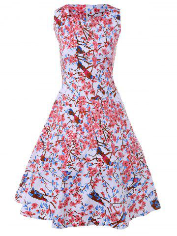 Unique Vintage Floral Fit and Flare Dress
