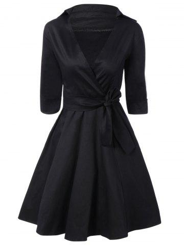 Buy Tie Belt Button Cuff Swing Dress BLACK 2XL
