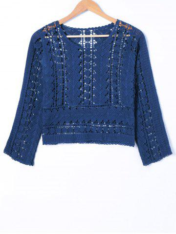 Shops Crochet Long Sleeve Hollow Out Blouse