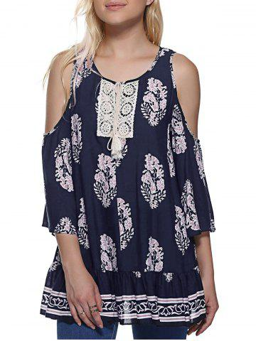 Cheap Fashionable Round Neck Cold Shoulder 3/4 Sleeve Print Blouse