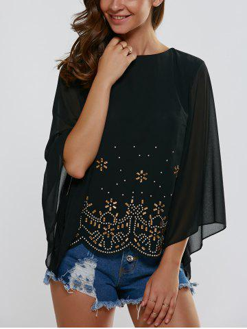 Outfits Flare Sleeve Rhinestoned Scalloped Blouse