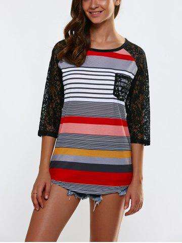 Openwork Lace Splicing Striped T-Shirt With Pocket - Stripe - S