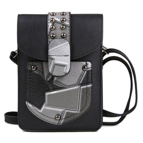 Shop Color Splicing Geometric Pattern Metal Crossbody Bag
