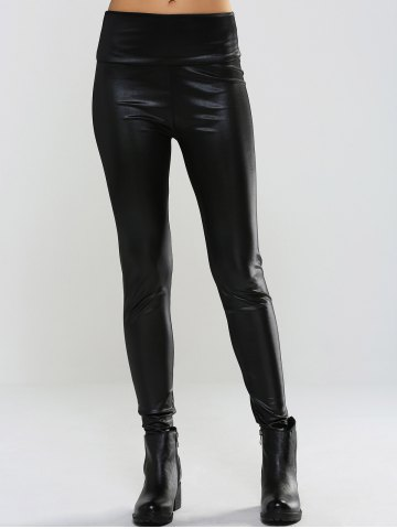 Best Slimming Mid-Waist PU Leather Pants BLACK ONE SIZE