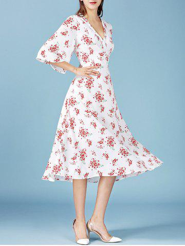 Trendy V Neck Bell Sleeve Tiny Floral Print Long Dress