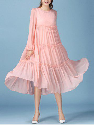 Latest Fairy Lace Tank Dress with Long Sleeve Smock Flowy Dress PINK S
