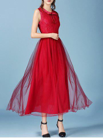 Shop Retro Bowknot Mesh Lace Spliced Maxi Chiffon Dress