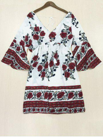 Latest Bohemian Print Backless Bell Sleeves Dress