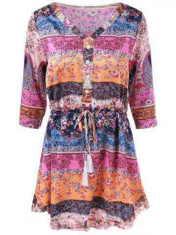 Outfit V Neck Colorful Printed Dress COLORMIX XL