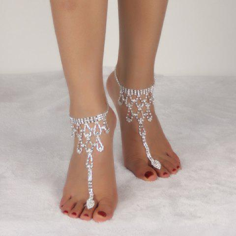New Rhinestone Teardrop Toe Ring Anklet SILVER WHITE
