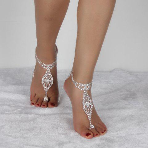 Chic Geometric Rhinestoned Toe Ring Anklet - SILVER WHITE  Mobile