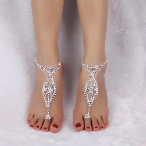 Cheap Geometric Rhinestoned Toe Ring Anklet - SILVER WHITE  Mobile