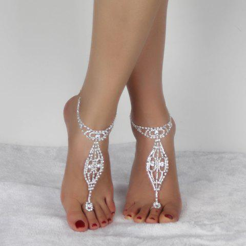 Outfit Geometric Rhinestoned Toe Ring Anklet - SILVER WHITE  Mobile