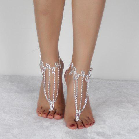 Chic Layered Leaf Toe Ring Anklet - SILVER WHITE  Mobile
