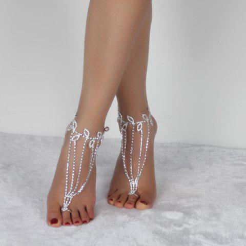 Cheap Layered Leaf Toe Ring Anklet SILVER WHITE