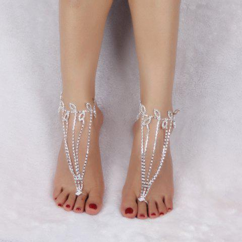 Outfit Layered Leaf Toe Ring Anklet - SILVER WHITE  Mobile