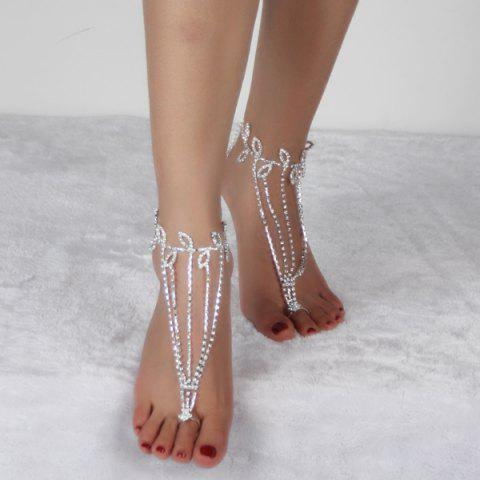 Affordable Layered Leaf Toe Ring Anklet - SILVER WHITE  Mobile