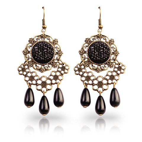 Latest Floral Rhinestone Teardrop Earrings