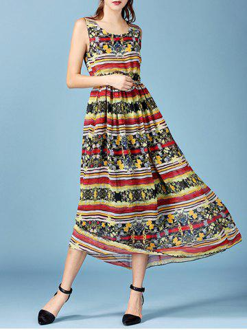 Fashion Bohemian Tribal Print Elastic Waist Chiffon Maxi Dress