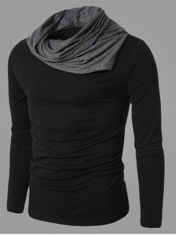 Online Color Splicing Cowl Neck Long Sleeve T-Shirt