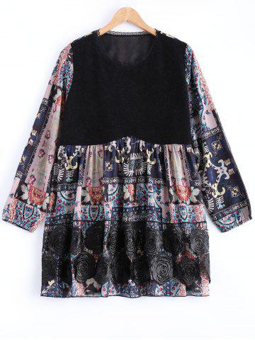 Trendy Lace Floral Print Long Sleeve Tee