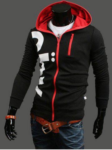 Affordable Letter Printed Zippered Long Sleeve Hoodie