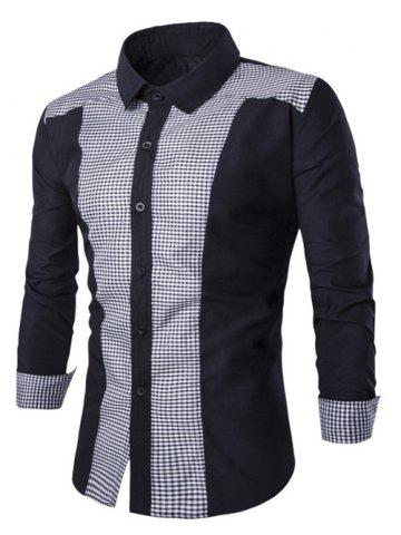 New Gingham Splicing Turn-down Collar Long Sleeve Shirt