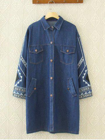 Best Embroidered Single-Breasted Denim Coat