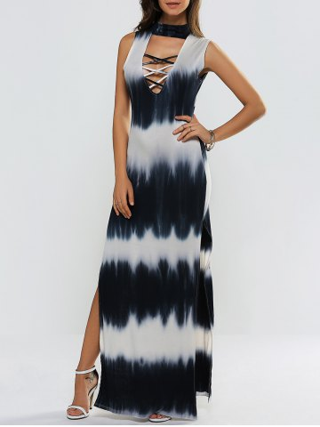 Latest High Slit Tie-Dyed Hollow Out Maxi Dress